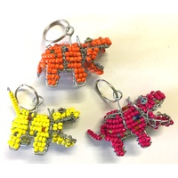 Beaded Hippo Keyring