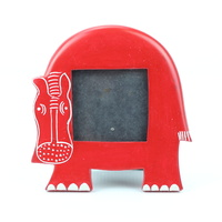 Kisii Soap Stone Frame - Hippo [Colour: Red]