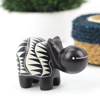 Kisii Soap Stone Hippo - Black Triangles (9cm)