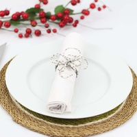 Wirechic Fantasy Serviette / Napkin Ring  White/Silver Set of 2