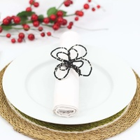 Wirechic Fantasy Serviette/Napkin Ring  Black/Silver Set of 2
