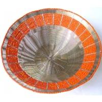 Wire Beaded Bowl - Orange and Silver (20cm)