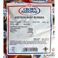 Crown National Stetson Beef Burger 1kg