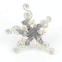 Wirechic Silver Christmas Star Decoration  ( Pack Of 3 ) 11X 11cm