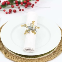 Wirechic Gold Christmas Serviette Rings Set Of 4