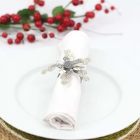 Wirechic Christmas Star Serviette/Napkin Rings - Silver - Set Of 2