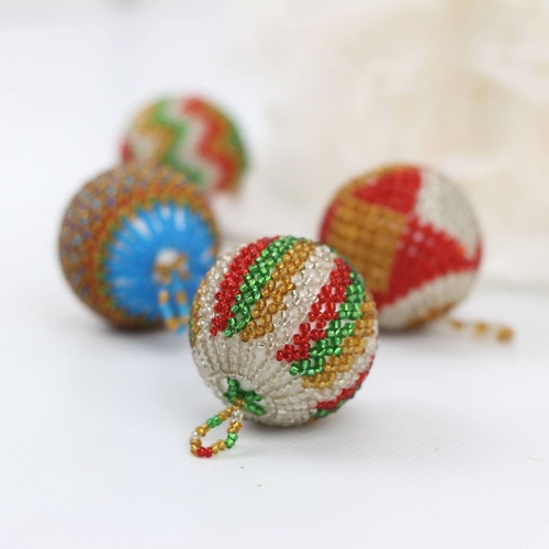 Beaded Christmas Tree Bauble Ornaments (Set of 2)