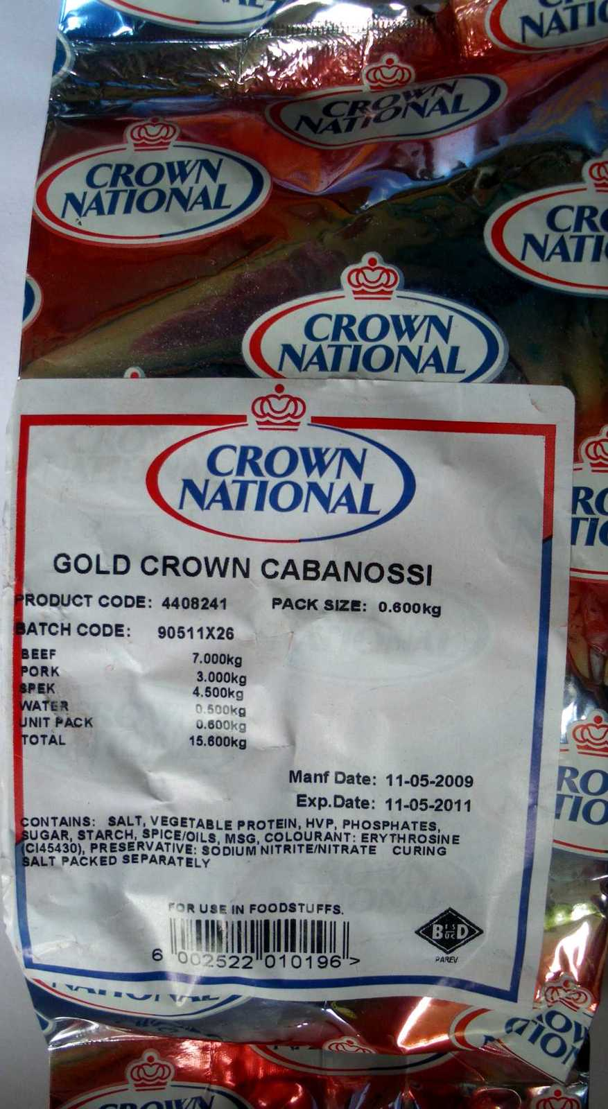 Crown National Cabanossi Gold Crown Seasoning 600g