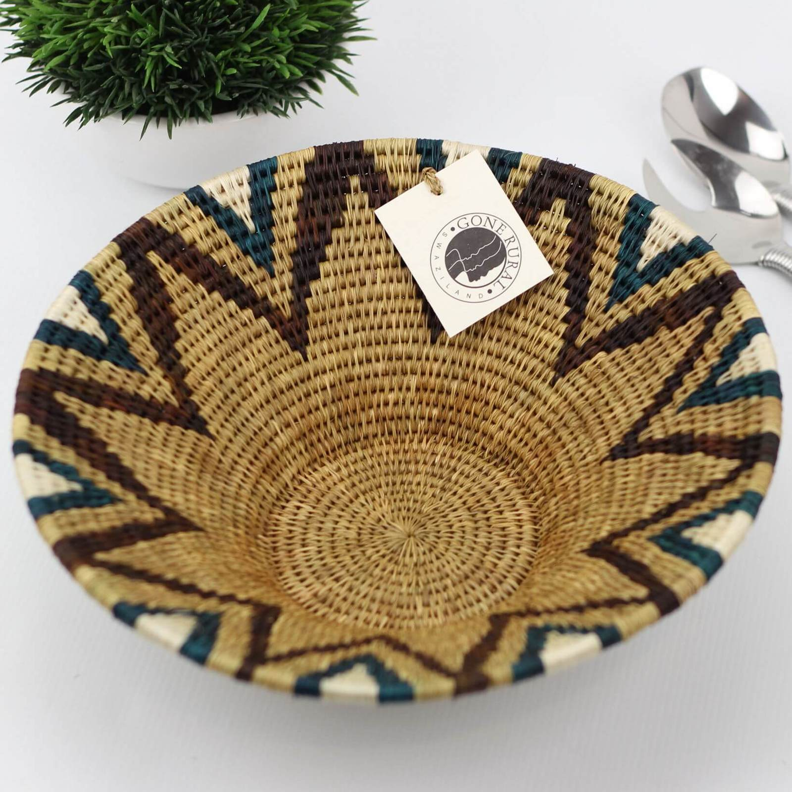 Gone Rural Swazi Basket Medium Teal (30cm)