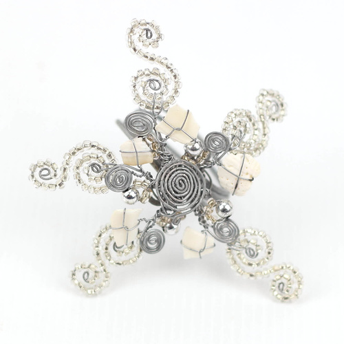 Wirechic Christmas Star Decoration - Silver - (Pack of 2) 11X 11cm